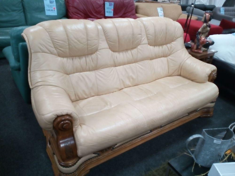 canap 3 places cuir bois occasion la cabane du troc. Black Bedroom Furniture Sets. Home Design Ideas
