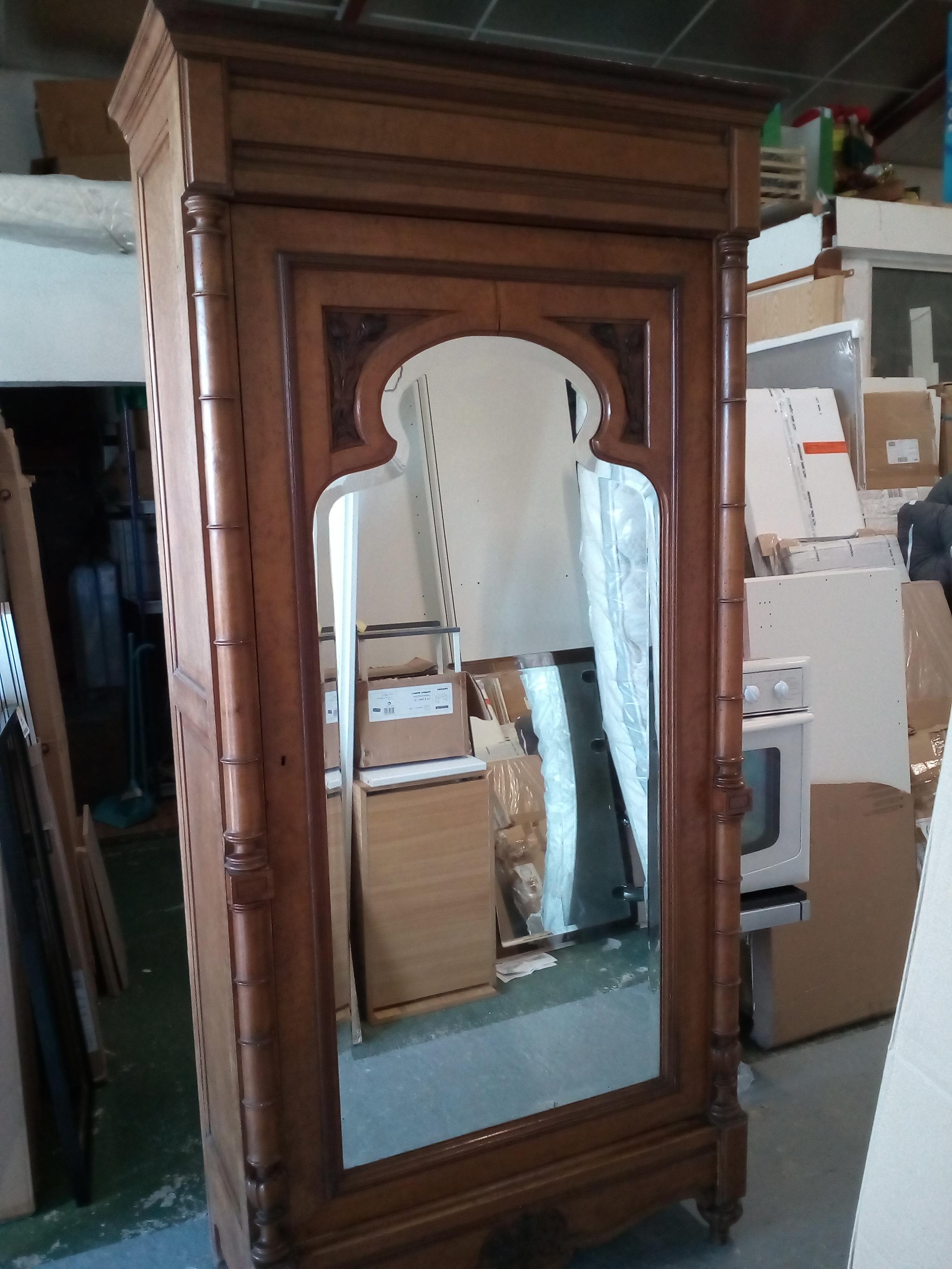 armoire ancienne 1porte miroir occasion la cabane du troc. Black Bedroom Furniture Sets. Home Design Ideas