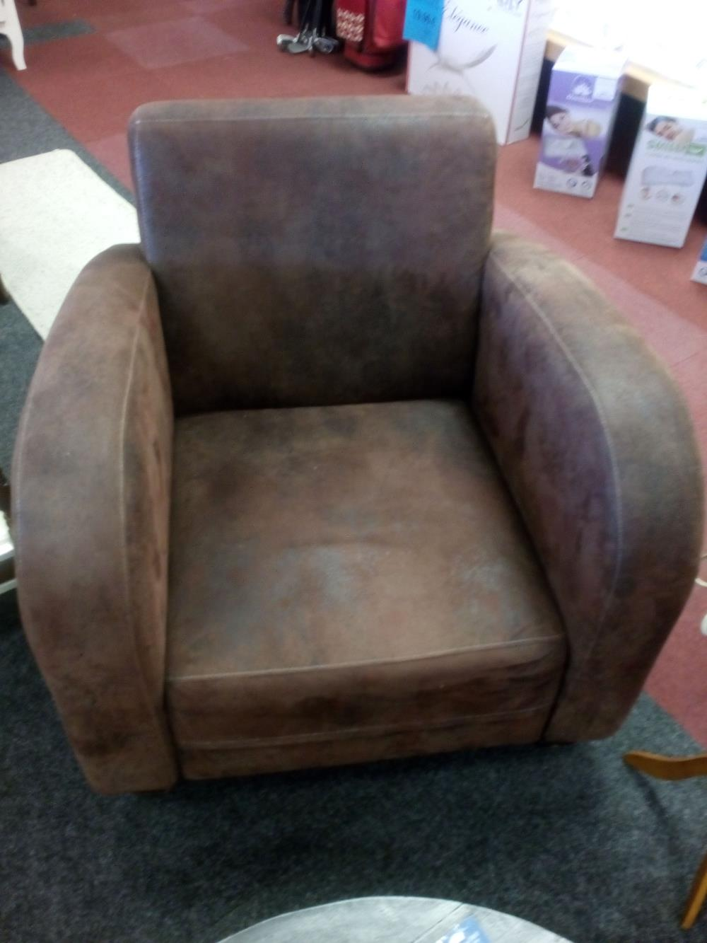 FAUTEUIL TYPE CLUB MICROFIBRE CHOCOLAT