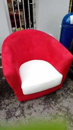 FAUTEUIL CABRIOLET ALCANTARA ROUGE ASSISE CUIR BLANC