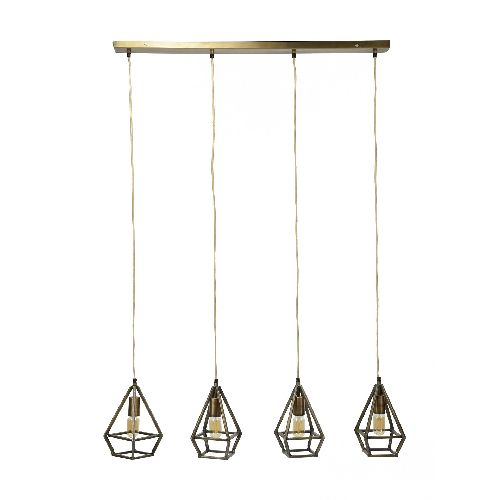 SUSPENSION 4 GOUTTES COULEUR BRONZE ANTIQUE H1M50 DESTOCK(7580/30) SANS AMPOULE