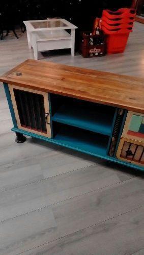 Meuble Tv Bois Colore Bleu Neuf Troc Richwiller # Meuble Bois Colore