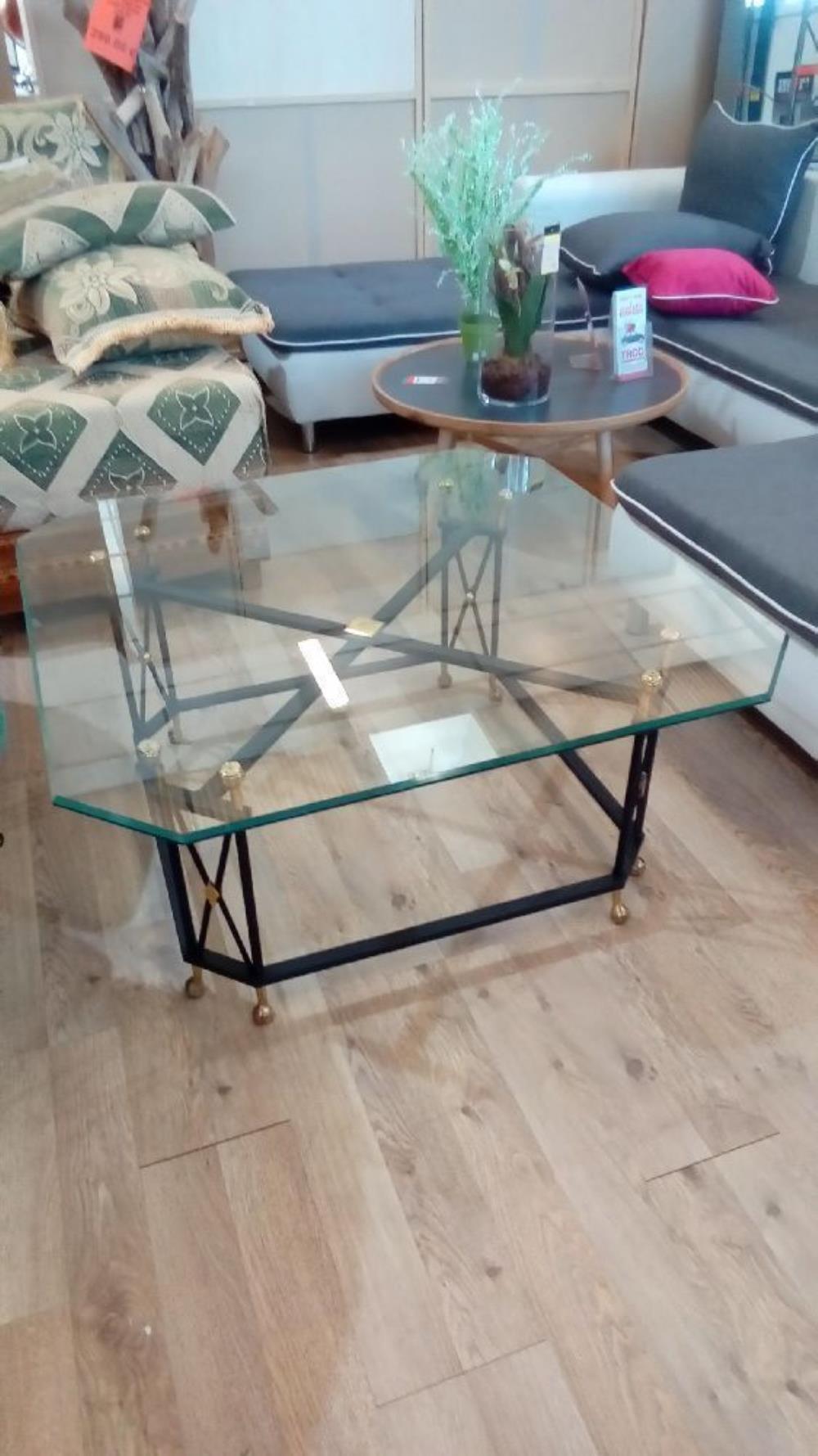 Table basse pied metal pl verre