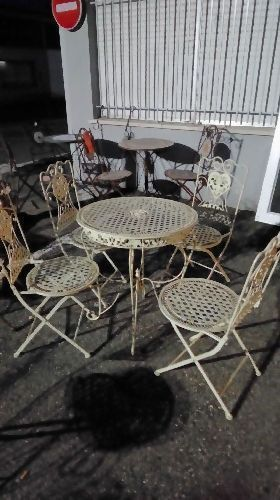 TABLE DE JARDIN METAL BLANC + 4 CHAISES( HR163W) occasion - Troc ...
