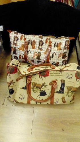 SAC DE VOYAGE TOILE STYLE BRODERIE