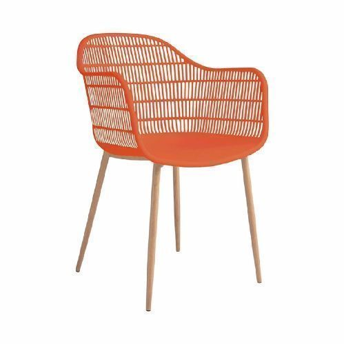 FAUTEUIL EN PP, PIED METAL TAMY ROUGE ORANGE (437783) UNIQUEMENT EN LOT DE 4 - COMMANDE POSSIBLE