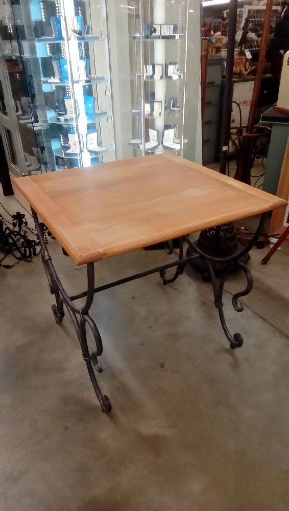 Table Pied Fer Forge Plt Chene Occasion Troc Nancy