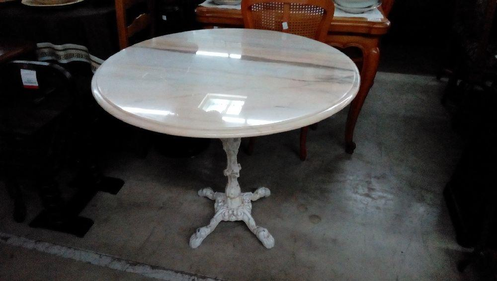 Table Bistrot Marbre Pied Fer Forge Occasion Troc Forbach