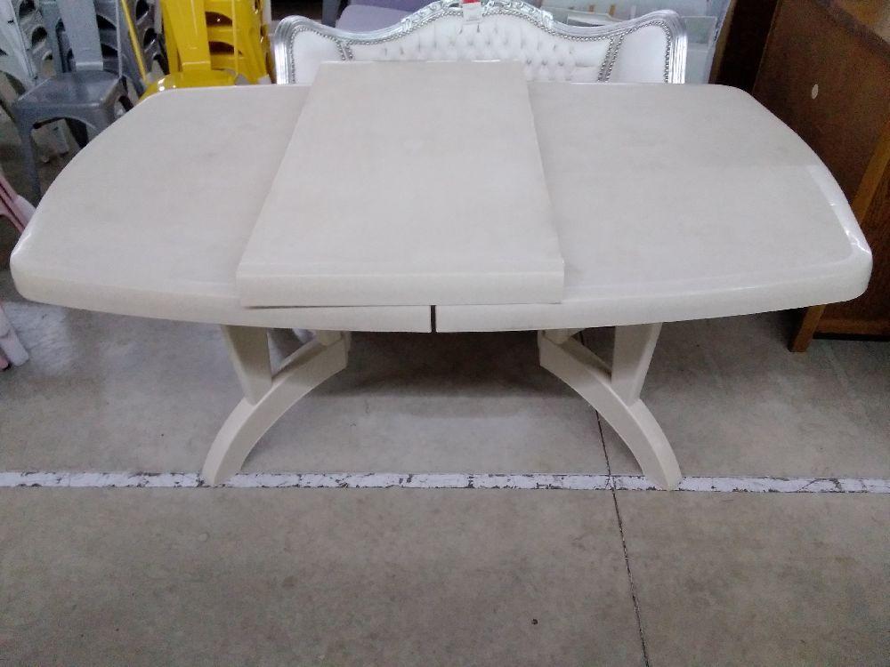 TABLE DE JARDIN PVC BEIGE 1 ALLONGE occasion - TROC FORBACH