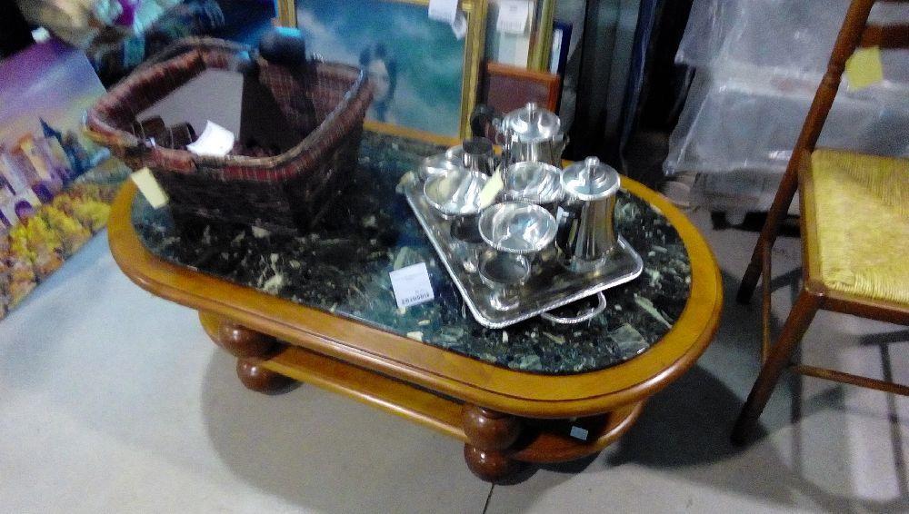 Table Basse Marbre Pieds Boule Occasion La Boutique Du Chineur
