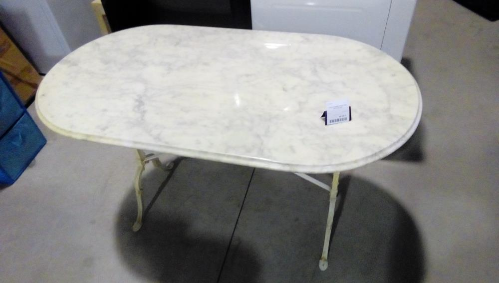 Table Marbre Ovale Pied Fonte Blanc Occasion La Boutique Du Chineur