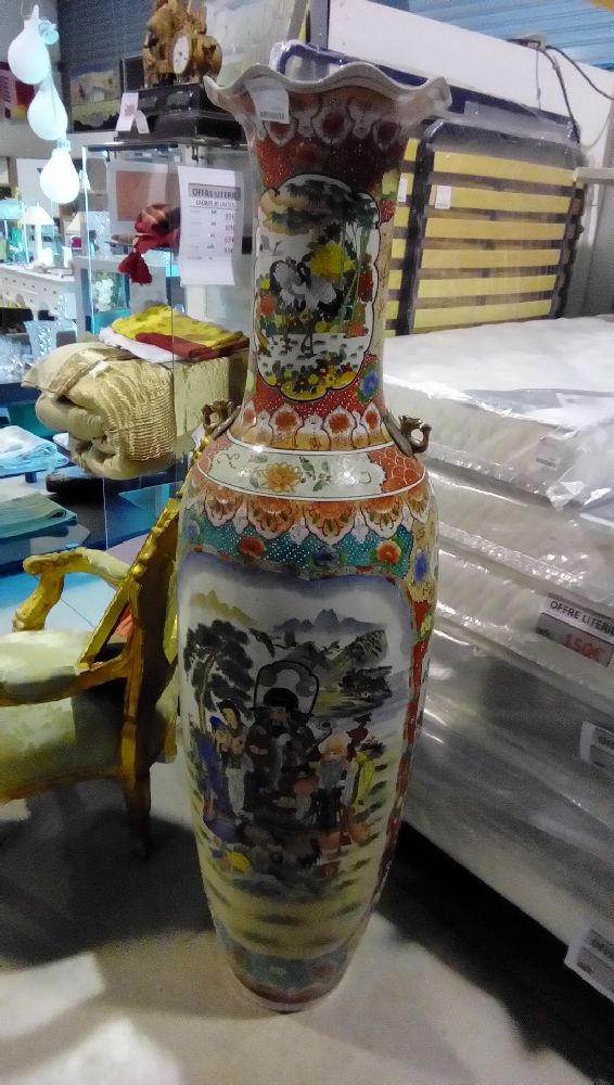 VASE CERAMIQUE DECOR ASIATIQUE ANSE EN L'ETAT