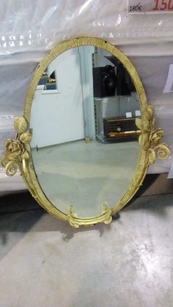 MIROIR FER FORGE DECOR FLORAL