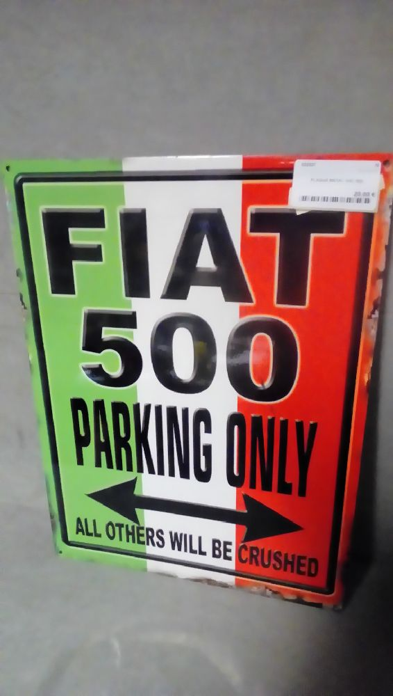 PLAQUE METAL FIAT 500