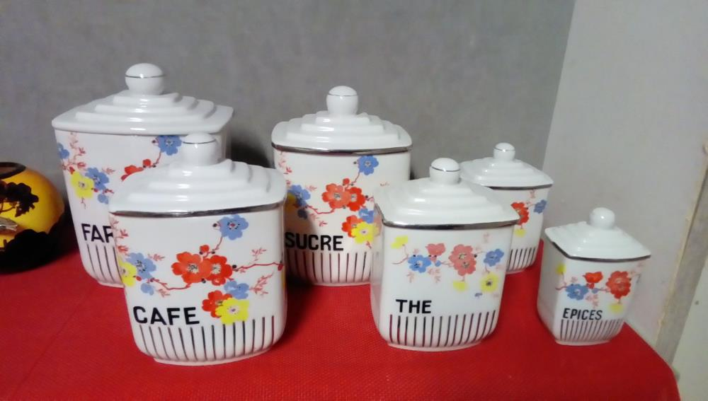 LOT DE 6 POTS CERAMIQUE ART DECO DECOR FLORAL
