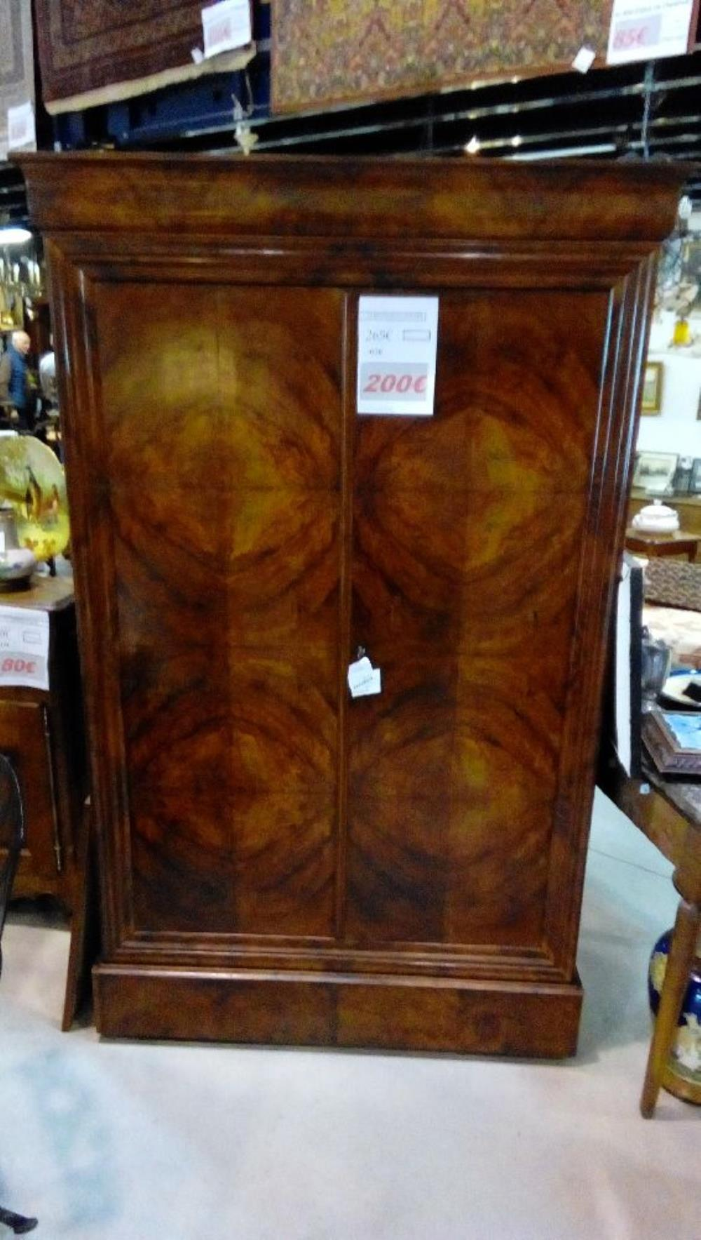 armoire 2p 1t ronce noyer l121h195p47 occasion la boutique du chineur. Black Bedroom Furniture Sets. Home Design Ideas