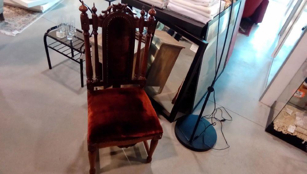 chaise st henri ii tissus marron occasion la boutique du chineur. Black Bedroom Furniture Sets. Home Design Ideas