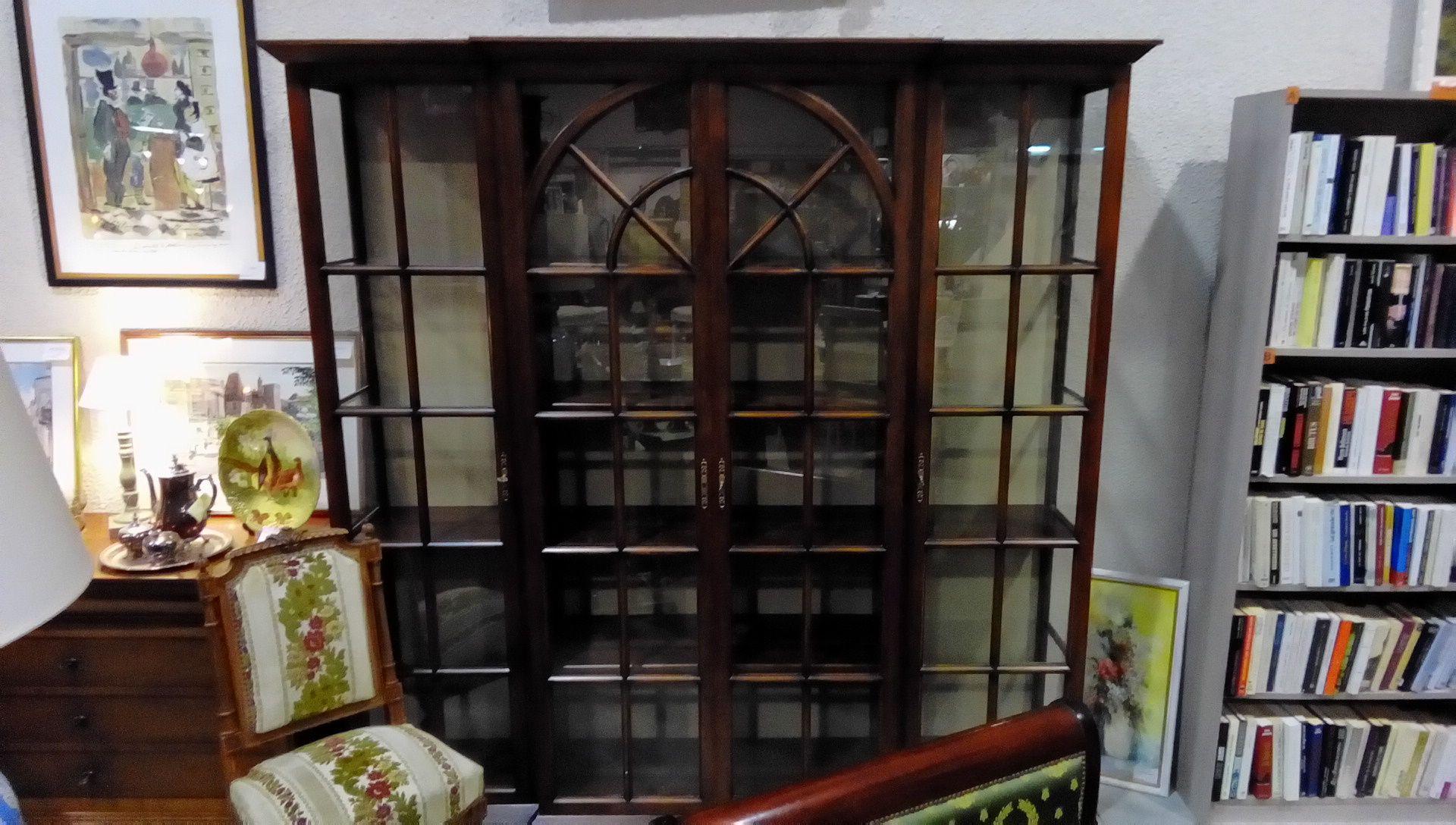 bibliotheque vitree 3 elements rustique occasion la boutique du chineur. Black Bedroom Furniture Sets. Home Design Ideas
