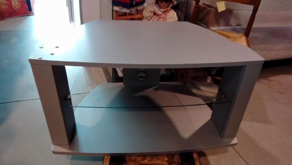meuble tele melamine gris etagere verre occasion la boutique du chineur. Black Bedroom Furniture Sets. Home Design Ideas