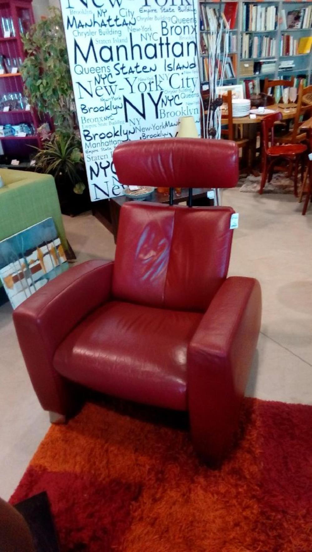 fauteuil relax cuir rouge en etat ekorns stressless occasion la boutique du chineur. Black Bedroom Furniture Sets. Home Design Ideas