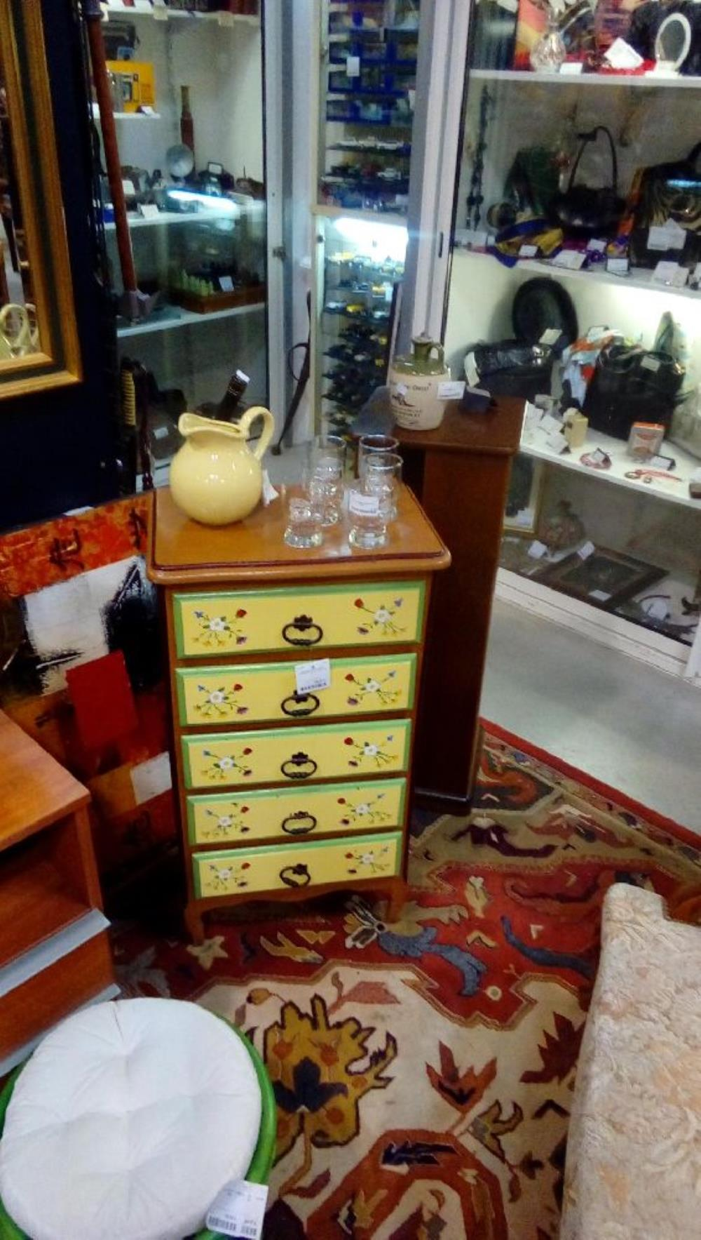 meuble chiffonnier 5tiroirs peint style louis xv