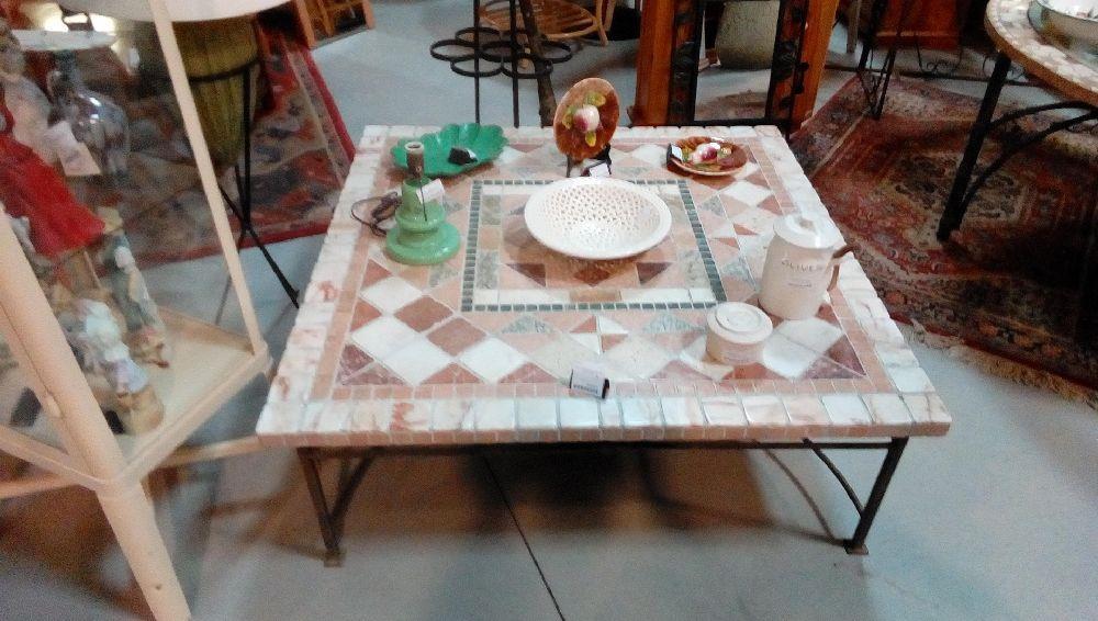 Table Basse Mosaique Pied Fer Forge Occasion La Boutique Du Chineur