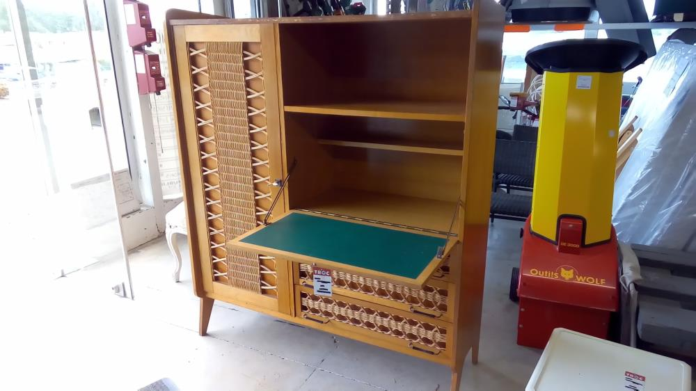 armoire secrÉtaire chÊne rotin occasion - troc 35