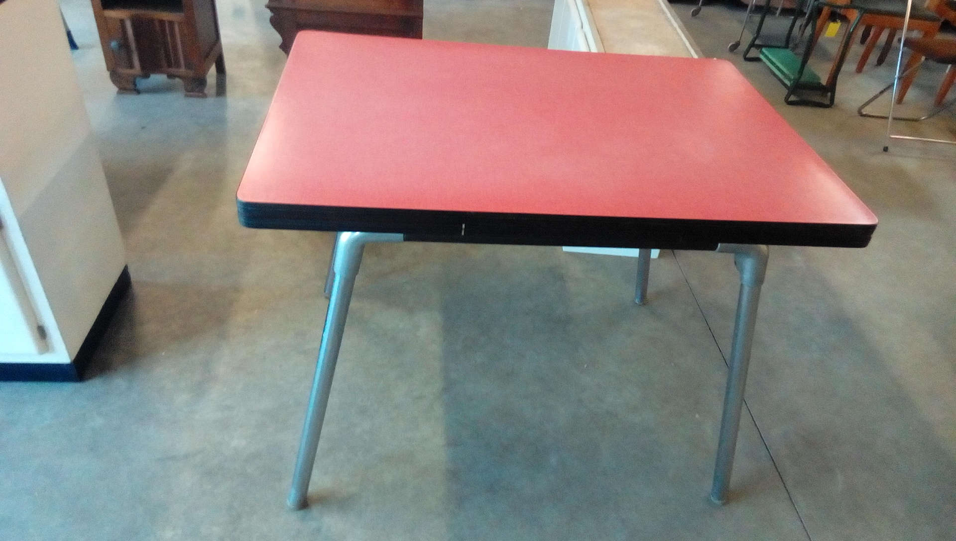Table Formica Rouge A Rallonges Pieds Metal Occasion Troc Fecamp