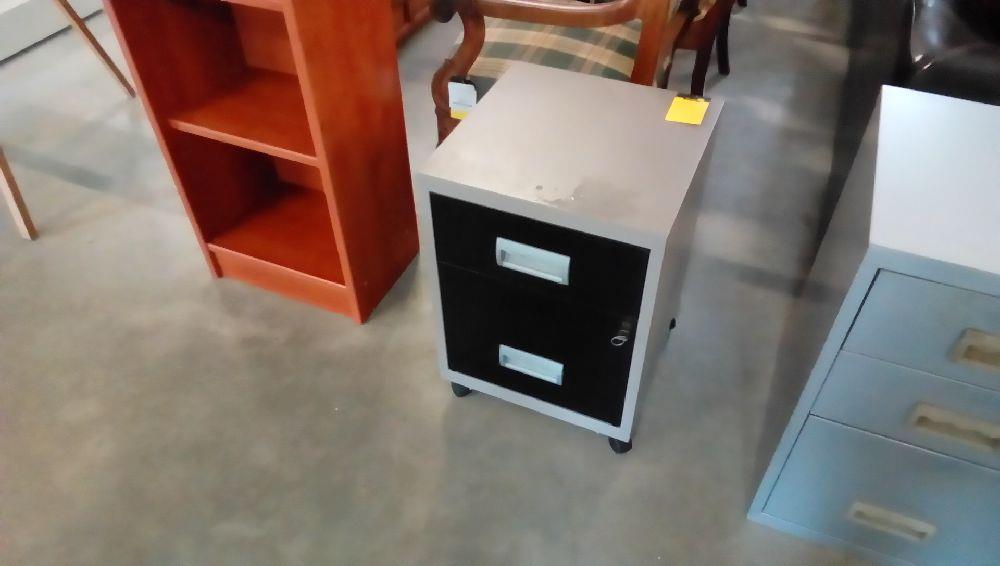 Caisson de bureau metal noir et gris 2 tiroirs occasion troc fecamp