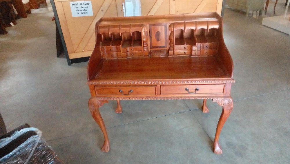 Bureau bois exotique style colonial tiroirs porte occasion