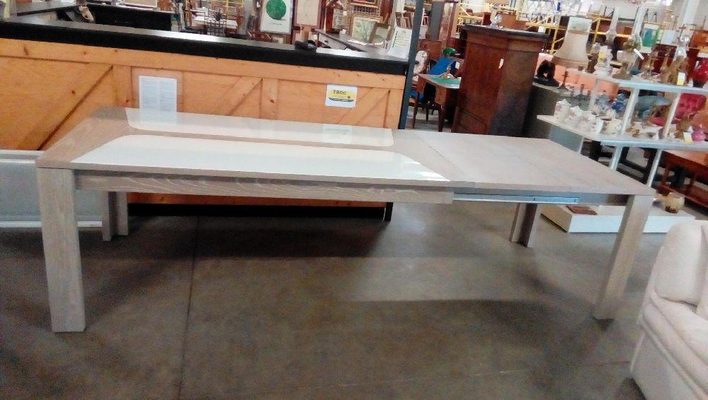 Bois Blanc Et Extensible Rectangulaire Verre Table Clair 2x50cm FKJTl3c1