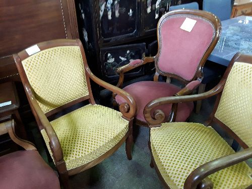 FAUTEUIL A CROSSE VELOURS OR CHINE