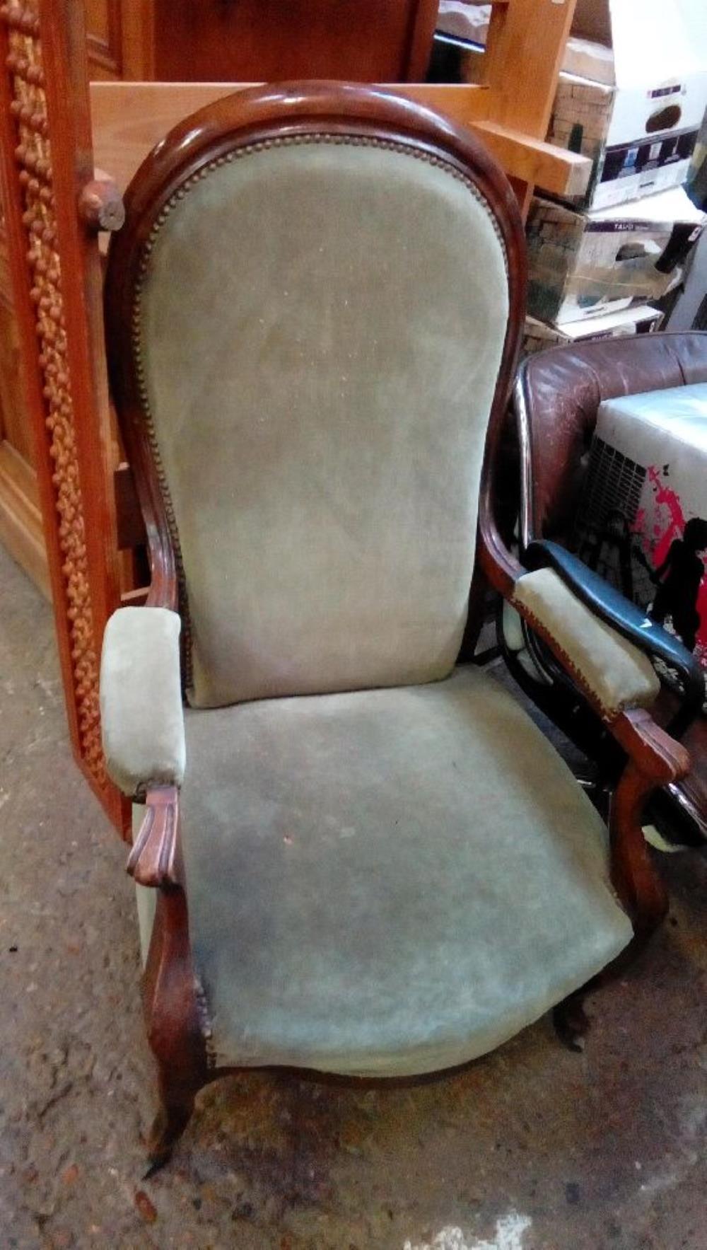 fauteuil voltaire velours vert a restaurer - Restaurer Un Fauteuil Voltaire