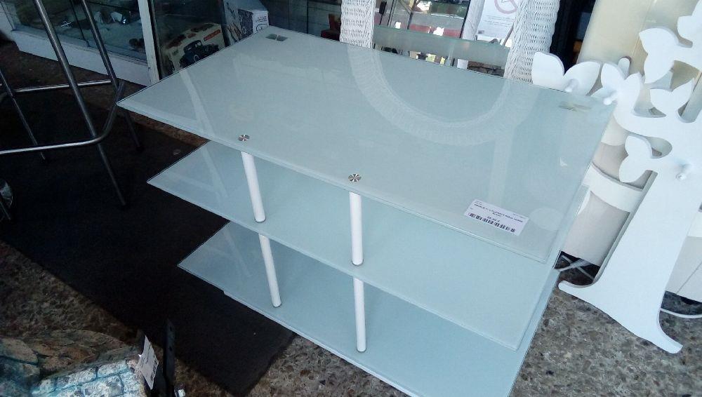 meuble tv 3 plateaux 90x45 verre blanc