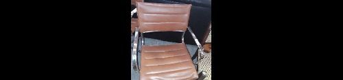 FAUTEUIL CHROME ET SIMILI ACCIDENTE MARRON VITAGE