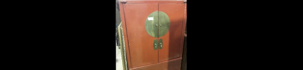 ARMOIRE DE MARIEE  CHINOISE LAQUEE ROUGE 2P