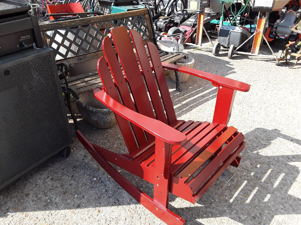 ROCKING CHAIR REPLIQUE  ADDIRONDACK PEINT BORDEAUX