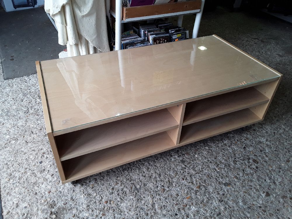 TABLE BASSE IKEA 120X60 DECO BOULEAU 4 NICHES SUR ROULETTES + VERRE