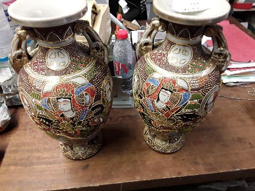 PAIREDE VASES SATSUMA 2 ANSES 38CM FABRICATION JAP