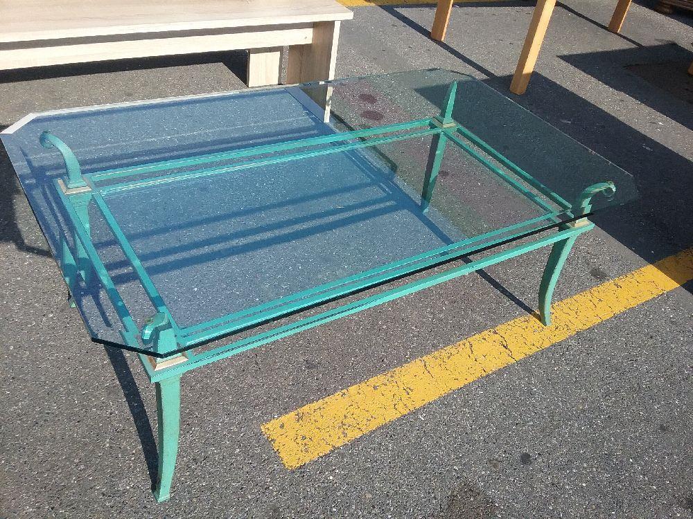 Table Basse Vitrée Pieds Metal Vert Occasion Eco Cash