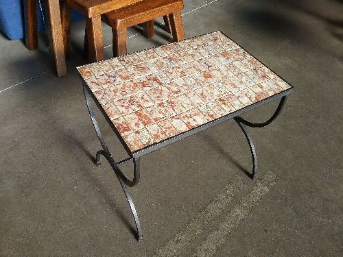 Table Basse Carrelee Pieds Fer Forge Occasion Eco Cash