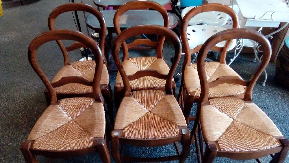 LOT DE 6 CHAISES STYLE LOUIS PHILIPPE ASSISE PAILLEE