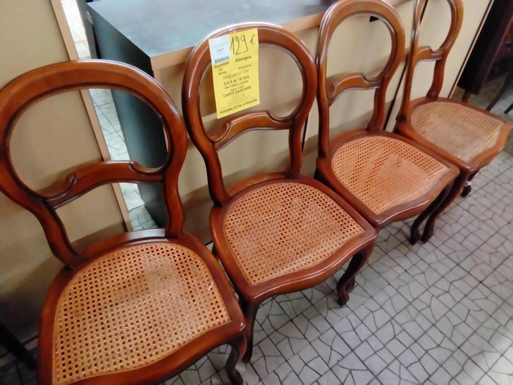 LOT DE 4 CHAISE CANNEES