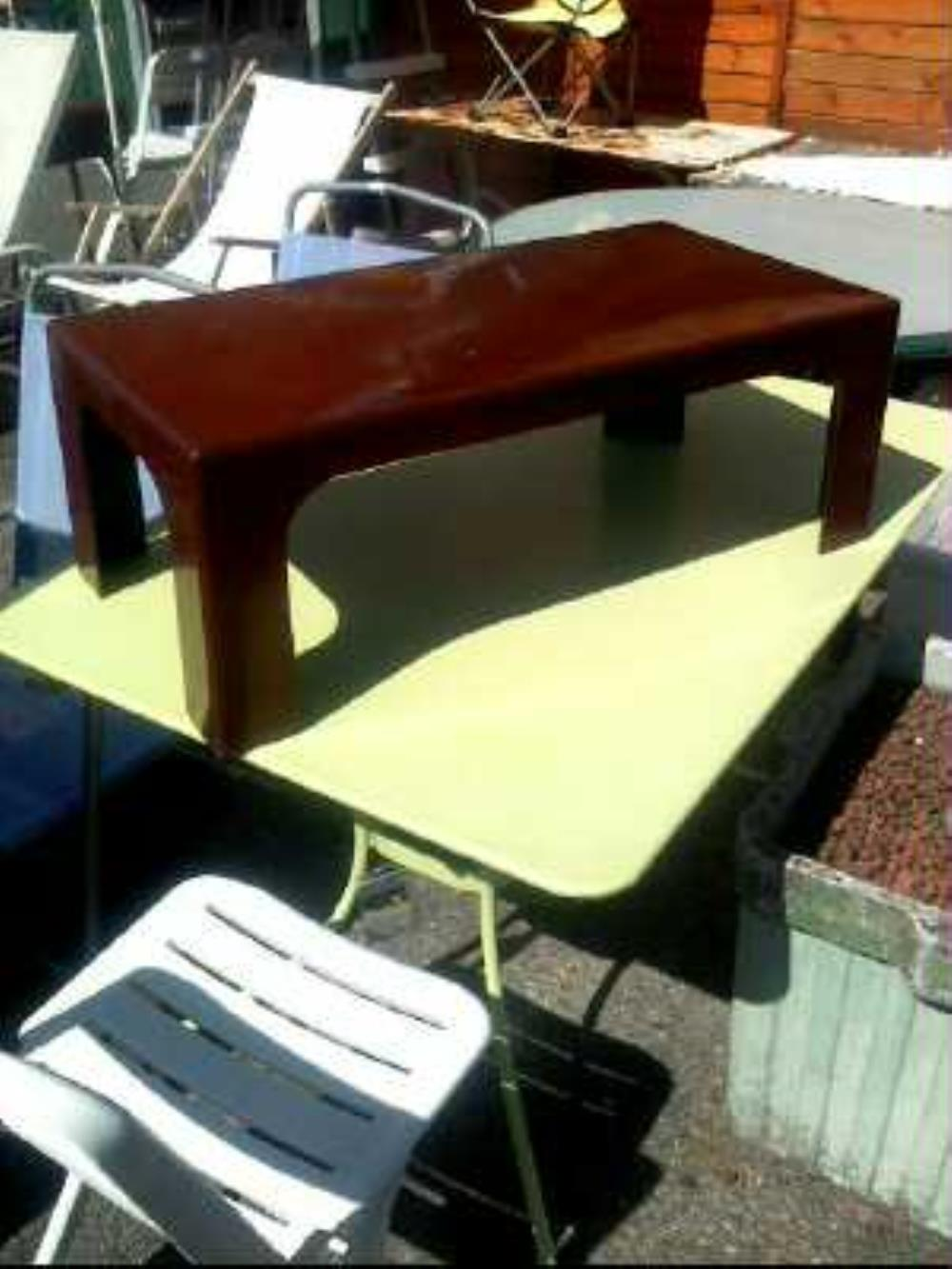 TABLE BASSE POLYESTER MARRON 70'S-80'S