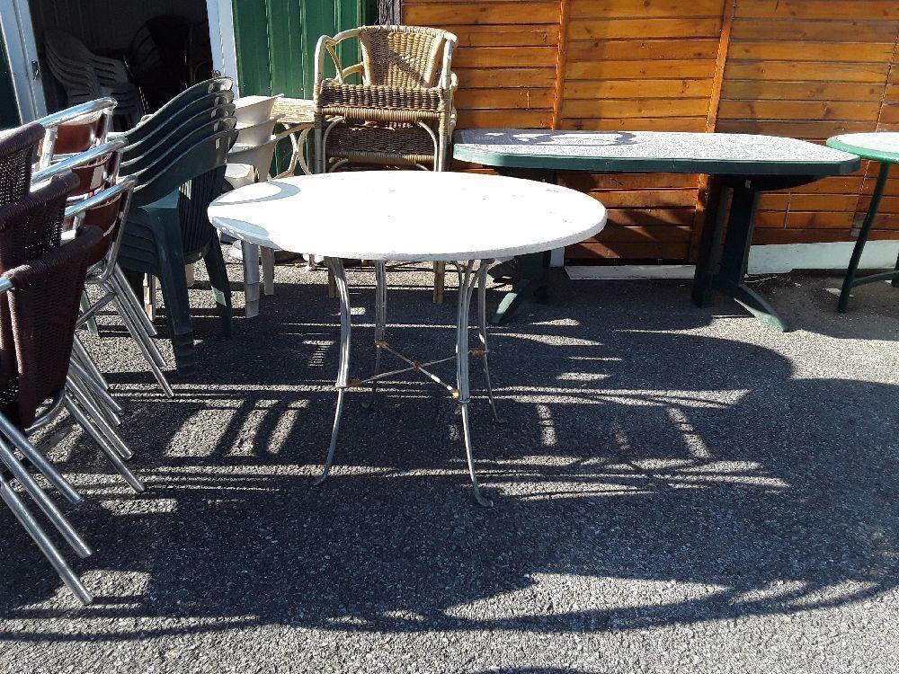 TABLE DE JARDIN PIED METAL PLATEAU PIERRE ROND DIAMETRE 100CM ...