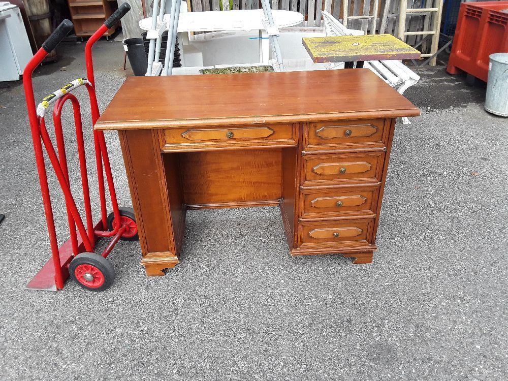 Bureau bois tiroirs bois chene plaque occasion troc annecy