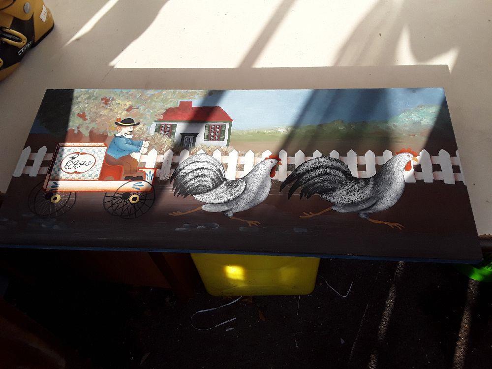 Peinture Sur Bois Eggs Trainneau A Poule Occasion Troc Annecy