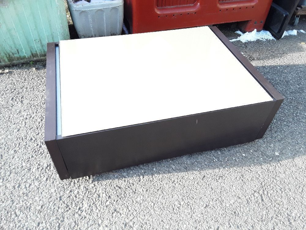 Table Basse Teinté Wengé Verre Taupe Extensible L155 Cm Occasion