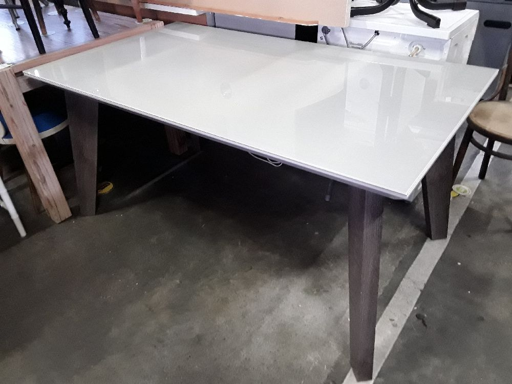 TABLE DESIGN BOIS VERRE DEPOLI BLANC 160X90 COMPAS