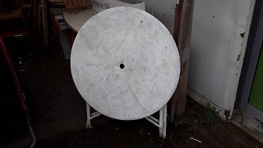 TABLE DE JARDIN PLIANT EN METAL DIAMETRE 92 CM COULEUR GRIS ...
